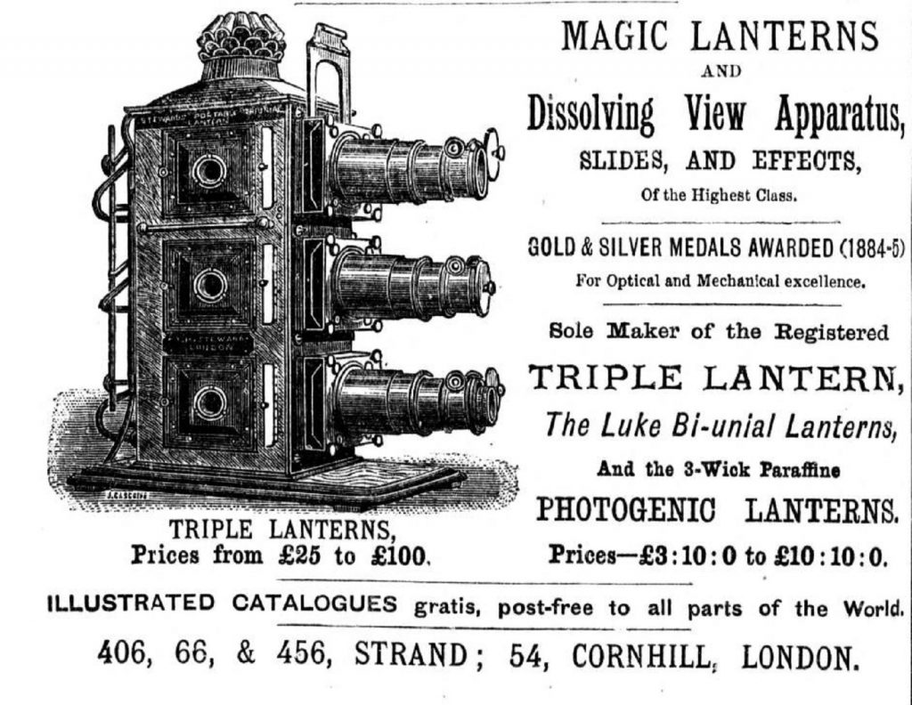 Black and White picture of an advert for a magic lantern