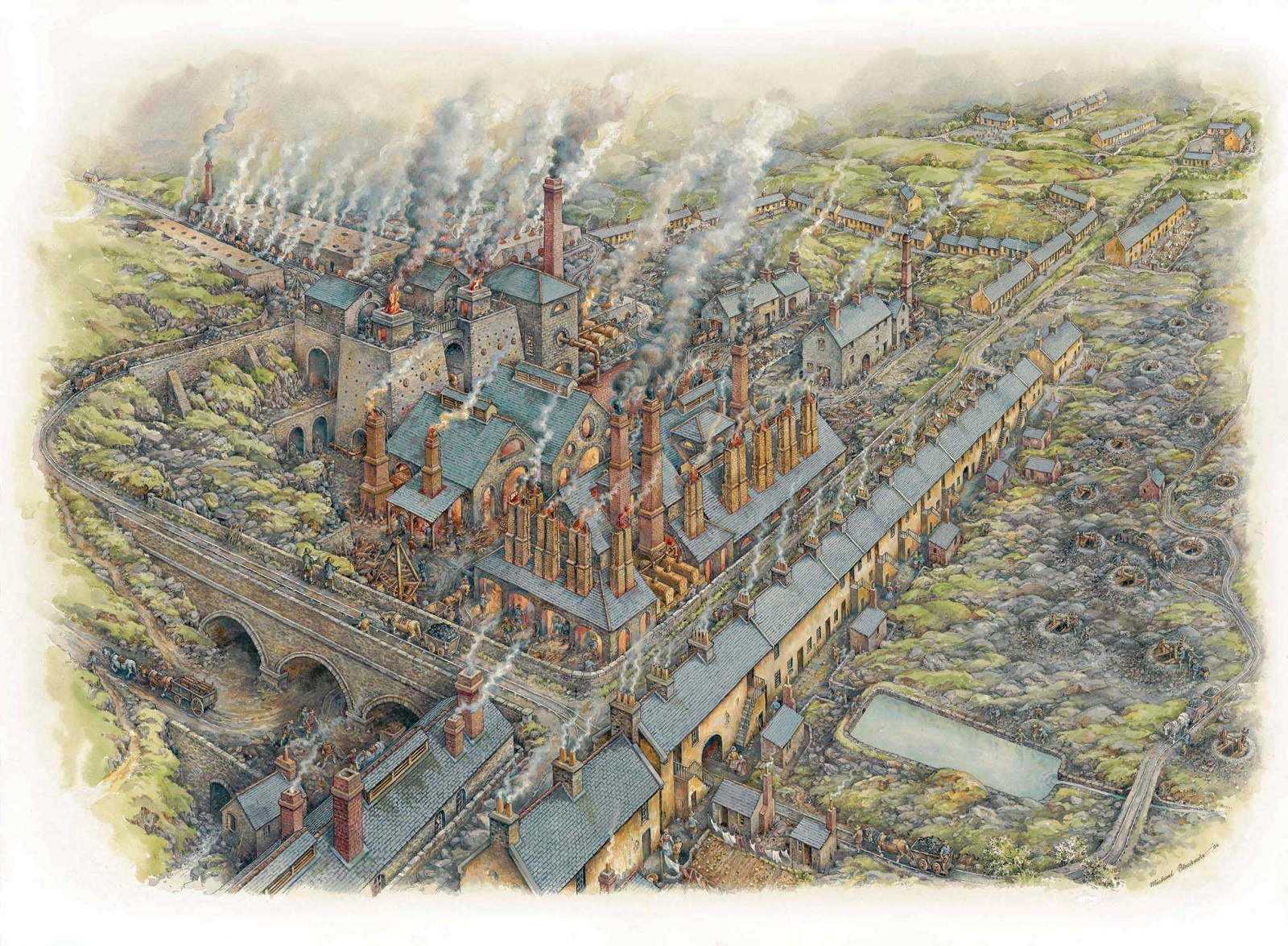 Drawing of industrial town
