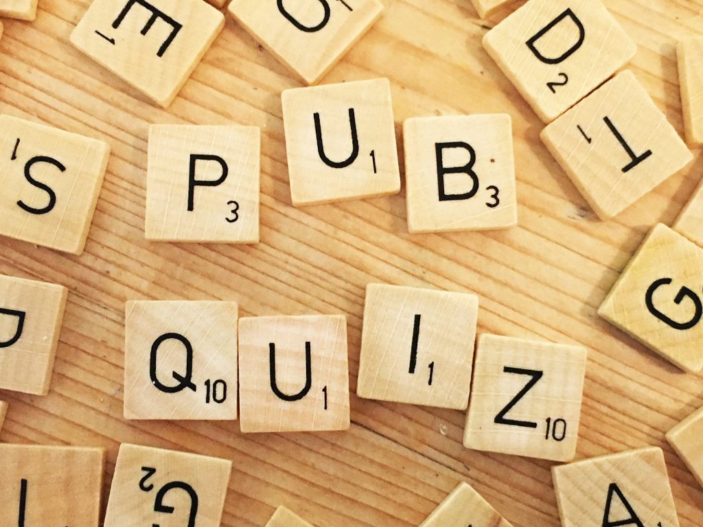 PUB QUIZ spelt out in scrabble letters